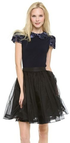 Love the navy + black & Peter Pan collar | Alice & Olivia Marti Collar Top with Pleated Sleeves sale $158.40 | shopbop