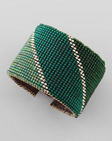 Beaded Leather Cuff, Green/Yellow. Nice finish with leather on the inside.