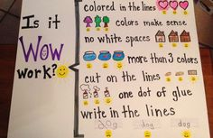 """My kindergarten students are always asking me """"is it WOW work?"""" because they want the honor of putting their work on our bulletin board. With this rubric, they can answer their own question! :)"""