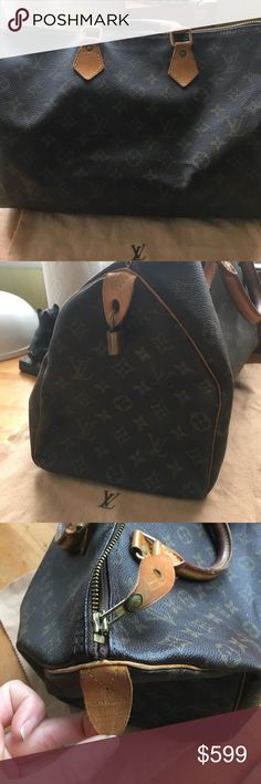 """ON HOLD LV SPEEDY 35, GREAT Vintage Condition! My Speedy 35, gently loved but still AWESOME! Only """"noticeable"""" flaw is on handle, could use a cleaning, shining. I have had this bag for years but it's in Excellent Vintage condition!! Louis Vuitton Bags Satchels"""
