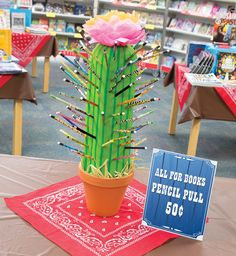 Cactus Pencil Pull. Instead of lollipops, try pencils. Sharpen a few and mix in with the rest. Students who pull a sharpened pencil win a prize. Toolkit keyword: PENCIL