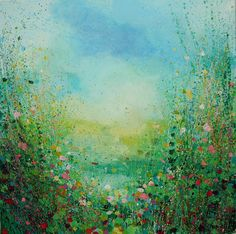 "Saatchi Online Artist Sandy Dooley; Painting, ""Green and Pink Landscape  (sold)"" #art"