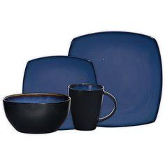 Gibson Soho Lounge Square 16-Piece Dinnerware Set, Blue, 4 Place Setting