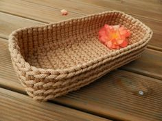 Handcrafted crochet rope basket / home decor by RasvyteEcoHandmade