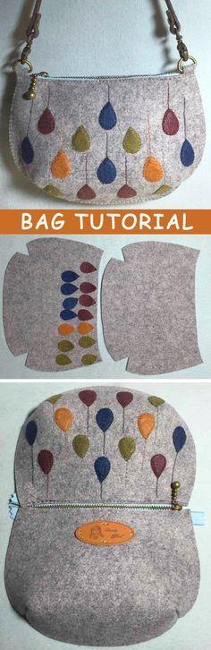 Bildanleitung für eine Filztasche - Handarbeit http://www.handmadiya.com/2015/10/felt-bag-tutorial.html