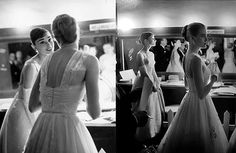 Grace Kelly and Audrey Hepburn at the 1956 Academy Awards