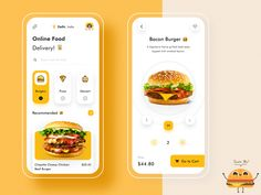 Foodie - Online Food Delivery App by Bhavna Kashyap for Nickelfox on Dribbble Burger Delivery, Delivery App, Delivery Food, Ux Design, Mobile App Design, Mobile Ui, User Experience Design, Customer Experience, Application Design