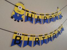 Minions Despicable Me Happy Birthday BannerFree by bebepeekaboo