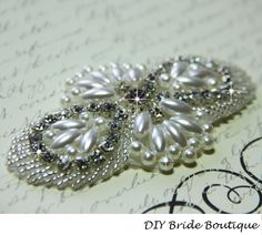 Rhinestone and pearl applique, crystal applique, beaded wedding beaded patch for DIY wedding accessories.. $14.99, via Etsy.