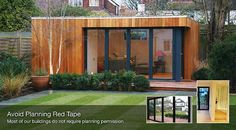 "Flat roofed @ 2.5 metre ""no planning permission"" height; timber clad; dark alloy clad window frames; deck"