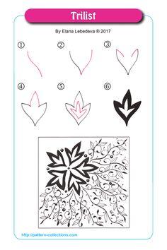 Manga Drawing Patterns Trilist by Elena Lebedeva - Visit the post for more. Zentangle Drawings, Doodles Zentangles, Doodle Drawings, Doodle Art, Zen Doodle Patterns, Zentangle Patterns, Tangle Doodle, Tangle Art, Diy Halloween