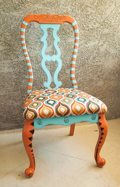 Hand painted decorative chair on Etsy, $250.00