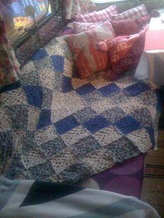 shades of blue crochet throw
