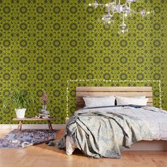 IMPORTANT: make sure to order enough panels to cover your wall or surface (size options below). Our peel and stick Wallpaper is easy to apply and take off, leaving no adhesive residue. Featuring sharp, vibrant images, Wallpaper patterns are ideal for accent walls, flat surfaces and temporary installations (like parties!). Available in three floor-to-ceiling sizes. - Panel size options in feet: 2' (W) x 4' (H), 2' x 8', 2' x 10' - Printed on... Green Wallpaper, Print Wallpaper, Peel And Stick Wallpaper, Pattern Wallpaper, Buy Tile, Art Deco Pattern, Green Art, Moroccan Style, Tile Patterns