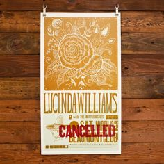 Hammerpress letterpress poster - Lucinda Williams concert