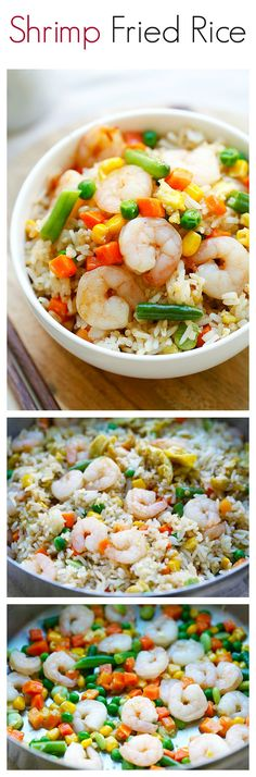 Shrimp fried rice – the easiest shrimp fried rice recipe that takes only 20 mins from prep to dinner table. Healthier & much better than Chinese takeouts Rice Recipes, Asian Recipes, Great Recipes, Cooking Recipes, Favorite Recipes, Healthy Recipes, Recipies, I Love Food, Good Food