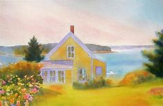 Yellow House, Summer Afternoon: Suzanne Siegel: Pigment Print - Artful Home