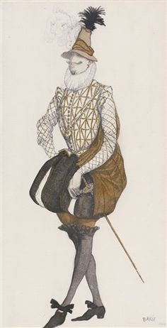 Costume design for Prince Espagnol from the ballet the Sleeping Beauty by Leon Bakst