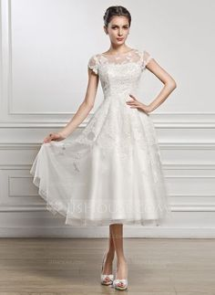 [AU$226.00] A-Line/Princess Scoop Neck Tea-Length Tulle Lace Wedding Dress With Beading Sequins   Good morning how long would this dress take to be delivered to Australia? Thank you