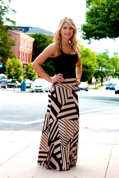 Zig Zag Mocha Maxi Skirt #May23Online $36.00