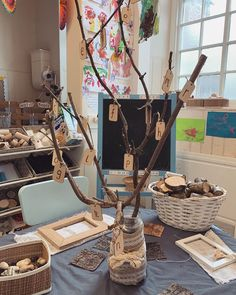"""this morning I've made an """"Alphabet tree"""" using sticks and wooden gift tags. I stuck it in a mud filled coffee jar and wrapped some hessian around it to make it a little prettier :) 🌱🍃 Classroom Displays Eyfs, Year 6 Classroom, Reading Corner Classroom, Eyfs Classroom, Classroom Organisation, Classroom Setting, Classroom Decor, Nursery Activities, Phonics Activities"""