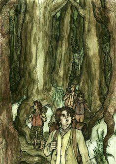 Frodon, Merry, Pippin et Sam dans la Vieille Forêt, d'après Roman Pisarev