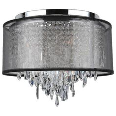 Tempest Chrome-Finish Crystal Flush-Mount Ceiling Light