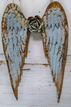 "Found on etsy.com Angel wings metal wall sculpture sea foam aqua rusty distressed shabby chic home… Sharon Schwegmann • href=""http://www.pinterest.com/pin/574209021212025270/"">Pinterest)"
