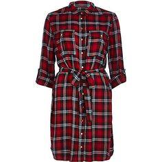 Red check shirt dress $70.00