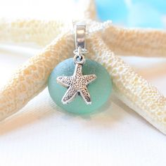 Bridesmaids jewelry idea Go Green Sea Glass Light Green Sea glass with Tibetian silver starfish on a .925 Sterling Silver plated Nacklace on Etsy, $5.95