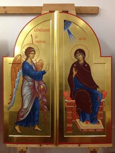 Annunciation by Alexandr Stalnov Religious Images, Religious Icons, Religious Art, Byzantine Icons, Byzantine Art, Greek Icons, Roman Church, Creativity Exercises, Catholic Art
