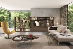 Find out all of the information about the ZALF spa product: modular bookcase / contemporary / glass / melamine Contact a supplier or the parent company directly to get a quote or to find out a price or your closest point of sale. Tv Built In, Contemporary Bookcase, White Sofas, Chair, Design, House, Inspiration, Furniture, Home Decor