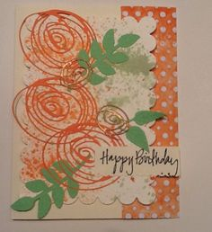 Green and orange card using Sizzix Thinlets Scribbles and Splats (Tim Holtz).