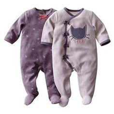 Lote de 2 pijamas com pés em veludo R baby - Recém-nascido