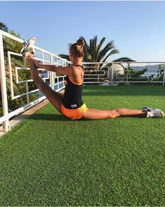 This is what we call oversplit stretching. WOW what a concept