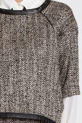 Pamela-Hanover-tweed-sweatshirt-with-black-leather-trim
