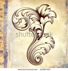Vector vintage baroque engraving floral scroll filigree design frame border acanthus pattern element at retro grunge background - stock vector