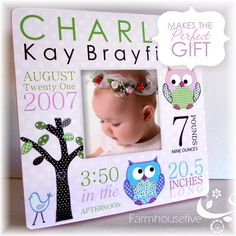Hayley Owl Birth Frame - For Paige's Room