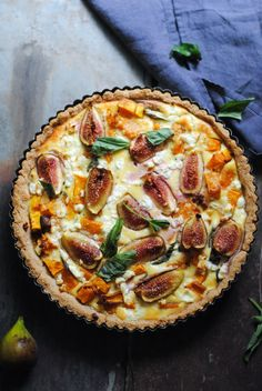 Pumpkin, Basil, Goat Cheese and Fig Quichegoodhousemag