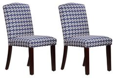 Navy Daisy Indio Side Chairs, Pair