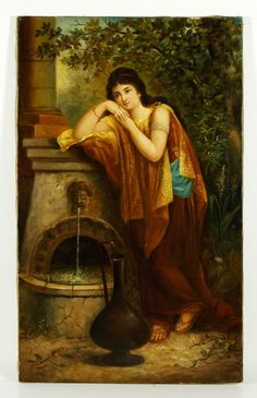 Filippo Indoni (Italian 1842-1908), woman by fountain, oil on canvas