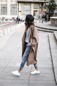 Cuffed jeans, Chunky sweater, & beige wool coat