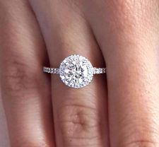 2 90 Ct Round Cut D Diamond Solitaire Halo Engagement Ring White Gold Round Halo Engagement Rings, Vintage Engagement Rings, Halo Rings, Engagement Jewellery, Stone Rings, Wedding Rings Vintage, Wedding Jewelry, Wedding Bands, Bling Bling