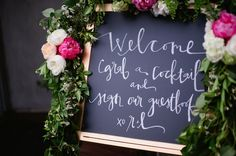 "reception welcome sign- ""Welcome! Grab a cocktail and sign our guestbook"""