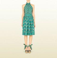 Gucci Beach Ball Print Silk Halter Dress