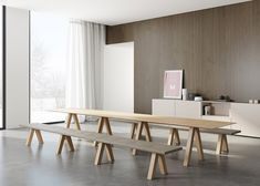 John Pawson has applied his pared-back architectural style to a range of furniture with trestle-style supports.