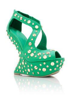 spiked heel-less platforms $68.00