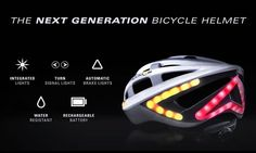 Lumos Helmet is raising funds for Lumos - A Next Generation Bicycle Helmet on Kickstarter! The ultimate bicycle helmet with brake lights and turn signals to help cyclists stay safe and visible on the road. Cycling Helmet, Bicycle Helmet, Bicycle News, Water Lighting, Bicycle Accessories, Led, Cool Bikes, Cool Gadgets, Inventions