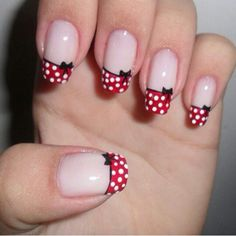 top 25 fantastic french Nails Art DesignsFrench manicures ar a well-liked trend among girls in America nowadays. And for glorious reason – the French manicure is extremely universal, and is just as acceptable for jeans and t-shirts because it may be French Nails, French Manicure Nails, Great Nails, Cute Nails, Minnie Mouse Nails, Polka Dot Nails, Polka Dots, Pink Nail, Red Dots
