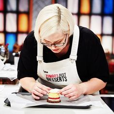 Zumbo's Just Desserts contestant Ali presenting another AMAZING dessert! Ali is stylishly outfitted in a Cargo Crew Sidney Bib Aprons... Available at http://www.cargocrew.com.au/aprons/apron-collections/sidney-aprons/sidney-bib-apron-sulphur.html